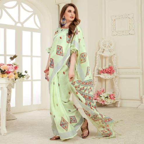 Desirable Light Green Colored Casual Printed Linen Saree With Tassels