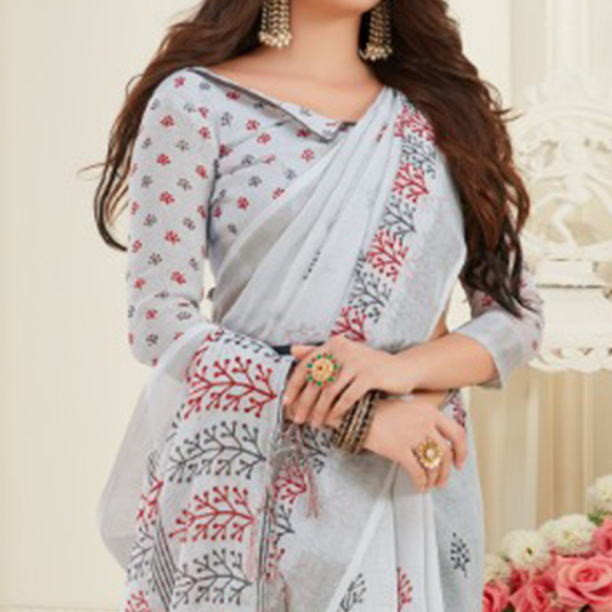 Exotic Grey Colored Casual Printed Linen Saree With Tassels