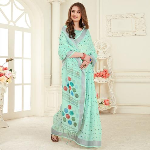 Sophisticated Sea Green Colored Casual Printed Linen Saree With Tassels