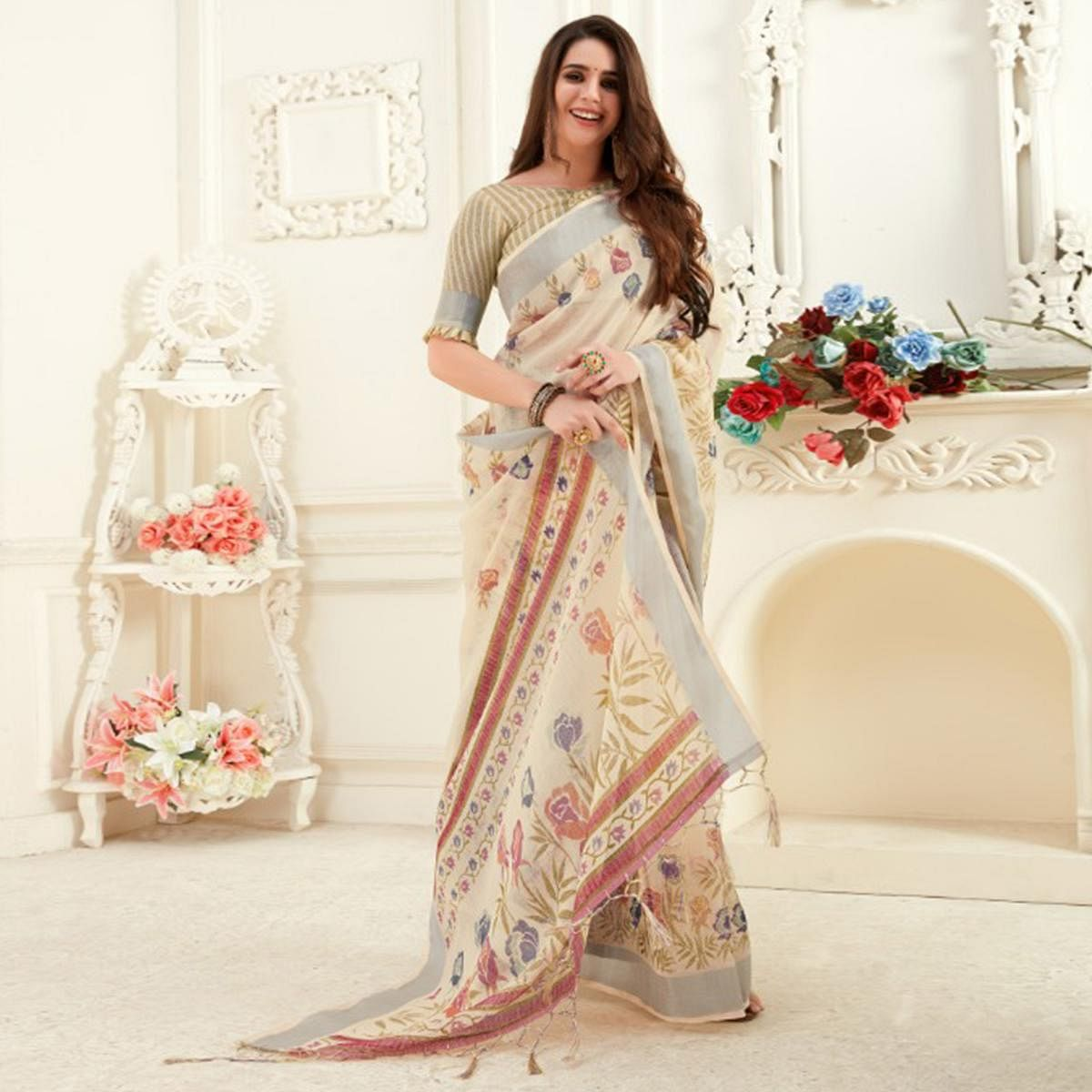 Trendy Cream Colored Casual Printed Linen Saree With Tassels