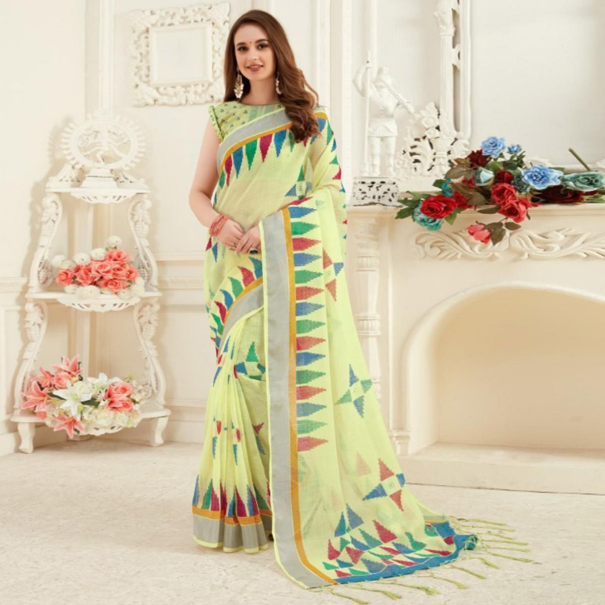 Elegant Yellow Colored Casual Printed Linen Saree With Tassels