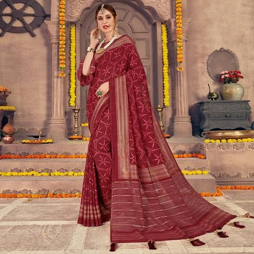 Preferable Maroon Colored Festive Wear Printed Georgette Saree With Tassels