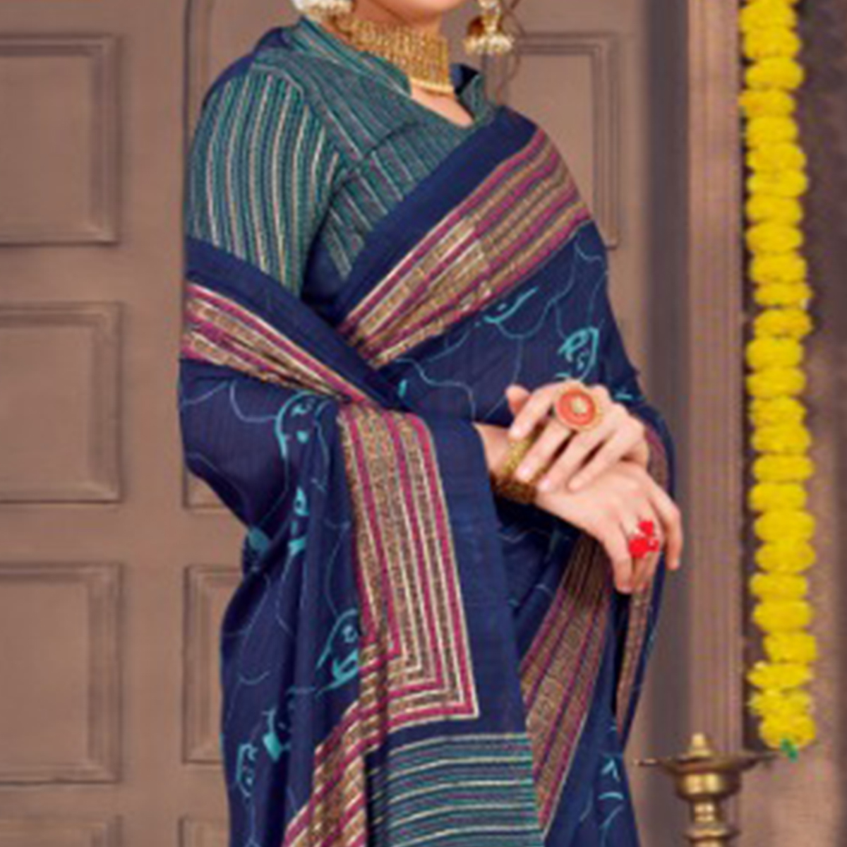 Marvellous Navy Blue Colored Festive Wear Printed Georgette Saree With Tassels