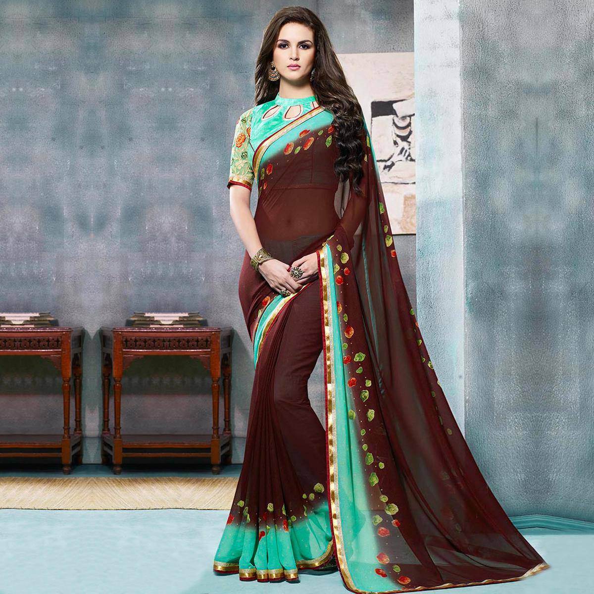 9dd4827e50 Buy Sea Green - Borwn Party Wear Saree for womens online India, Best  Prices, Reviews - Peachmode