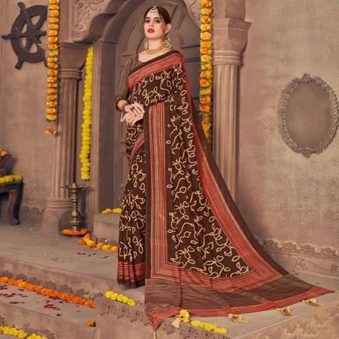 Alluring Brown Colored Festive Wear Printed Georgette Saree With Tassels