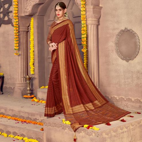 Sensational Maroon Colored Festive Wear Printed Georgette Saree With Tassels