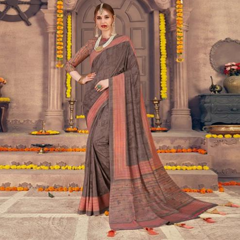 Stunning Brown Colored Festive Wear Printed Georgette Saree With Tassels