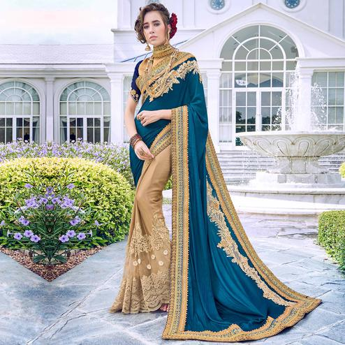 Surpassing Chiku-Teal Blue Colored Partywear Embroidered Art Silk-Georgette Half-Half Saree