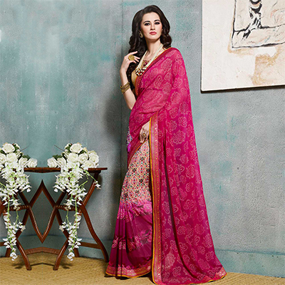 Pink Floral Printed Fancy Georgette Saree