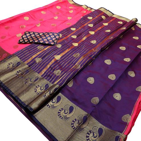 Gorgeous Pink Colored Festive Wear Woven Banarasi Silk Saree