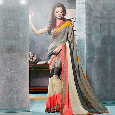 Multi Color Fancy Georgette Saree