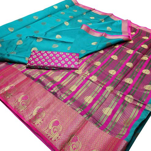 Blissful Rama Blue Colored Festive Wear Woven Banarasi Silk Saree