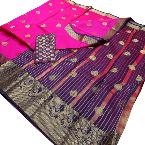 Ideal Pink Colored Festive Wear Woven Banarasi Silk Saree