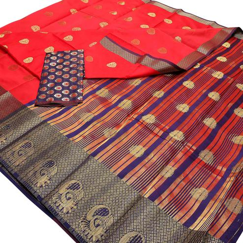 Imposing Red Colored Festive Wear Woven Banarasi Silk Saree