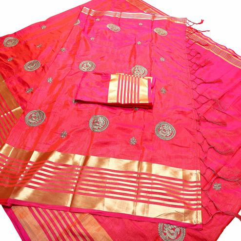 Classy Pink Colored Festive Wear Peacock Embroidered Banarasi Silk Saree With Tassels