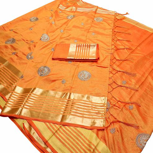 Prominent Yellow Colored Festive Wear Peacock Embroidered Banarasi Silk Saree With Tassels