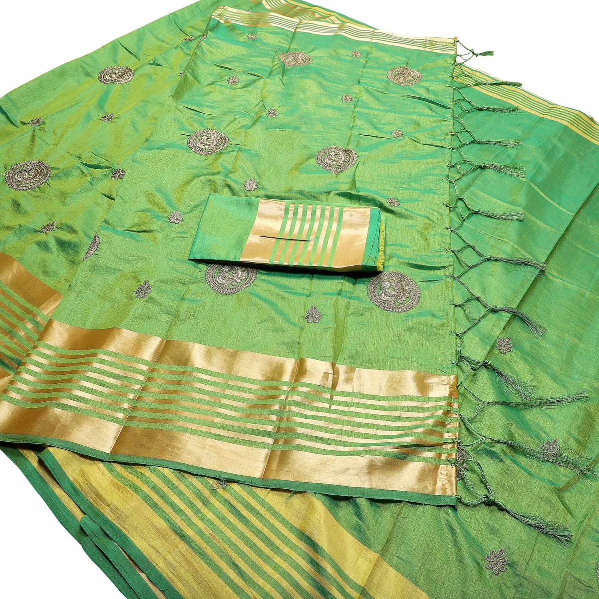 Entrancing Green Colored Festive Wear Peacock Embroidered Banarasi Silk Saree With Tassels