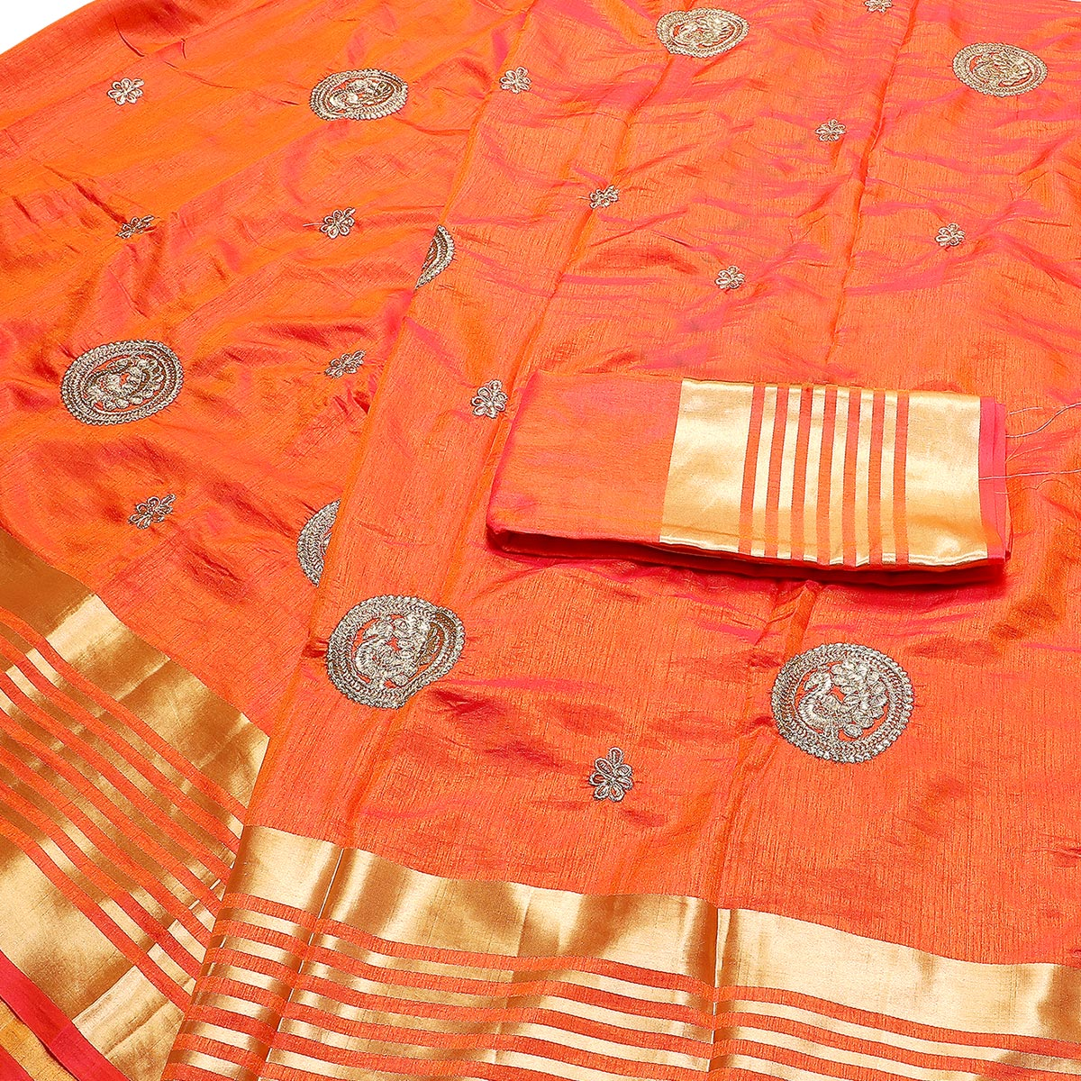 Groovy Orange Colored Festive Wear Peacock Embroidered Banarasi Silk Saree With Tassels
