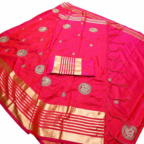 Adorning Fuchsia Pink Colored Festive Wear Peacock Embroidered Banarasi Silk Saree With Tassels