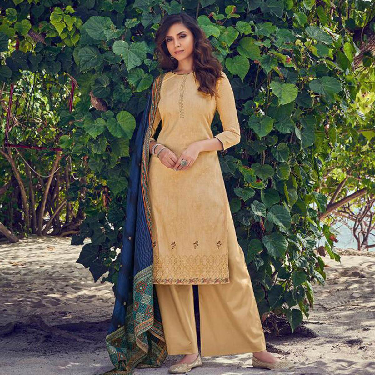 Prominent Beige Colored Party Wear Embroidered Cotton Palazzo Suit