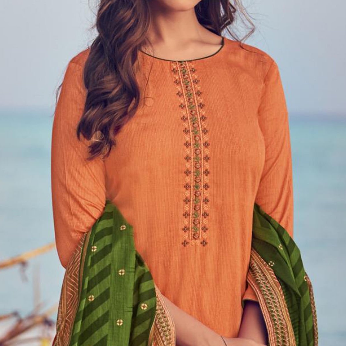 Capricious Brown Colored Party Wear Embroidered Cotton Palazzo Suit