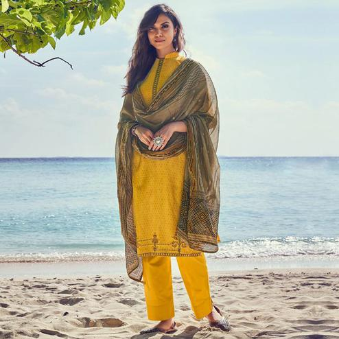 Entrancing Yellow Colored Party Wear Embroidered Cotton Palazzo Suit