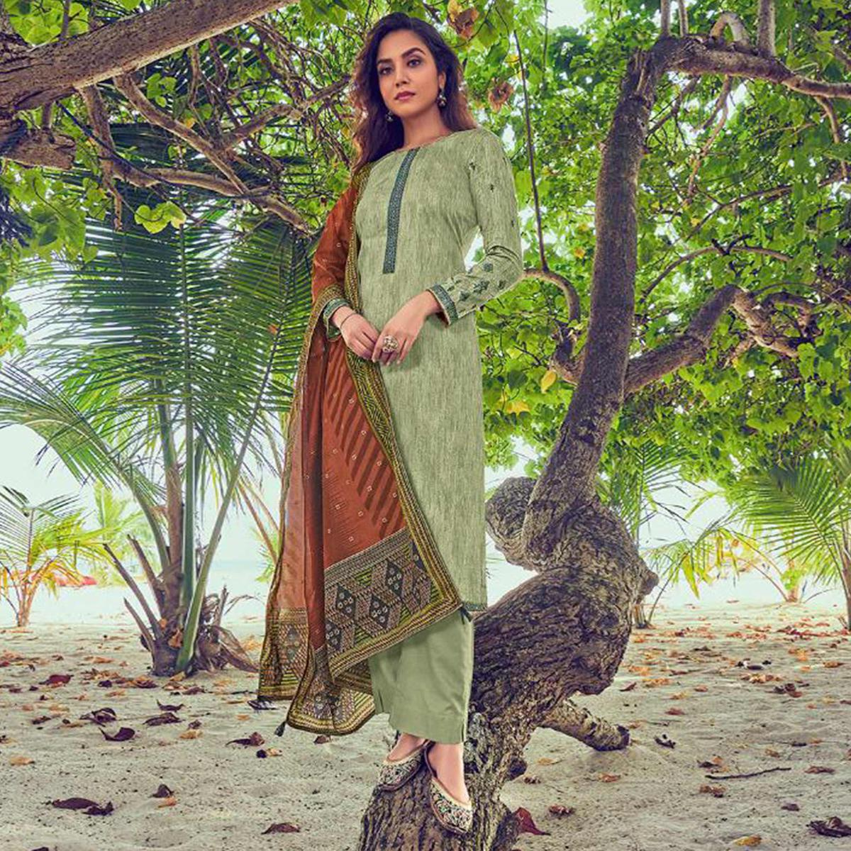 Groovy Light Green Colored Party Wear Embroidered Cotton Palazzo Suit