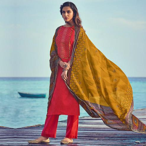 Exclusive Red Colored Party Wear Embroidered Cotton Palazzo Suit