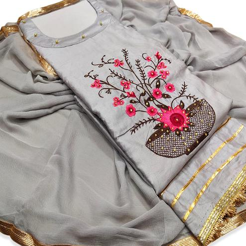 Refreshing Grey Colored Partywear Floral Embroidered Cotton Dress Material
