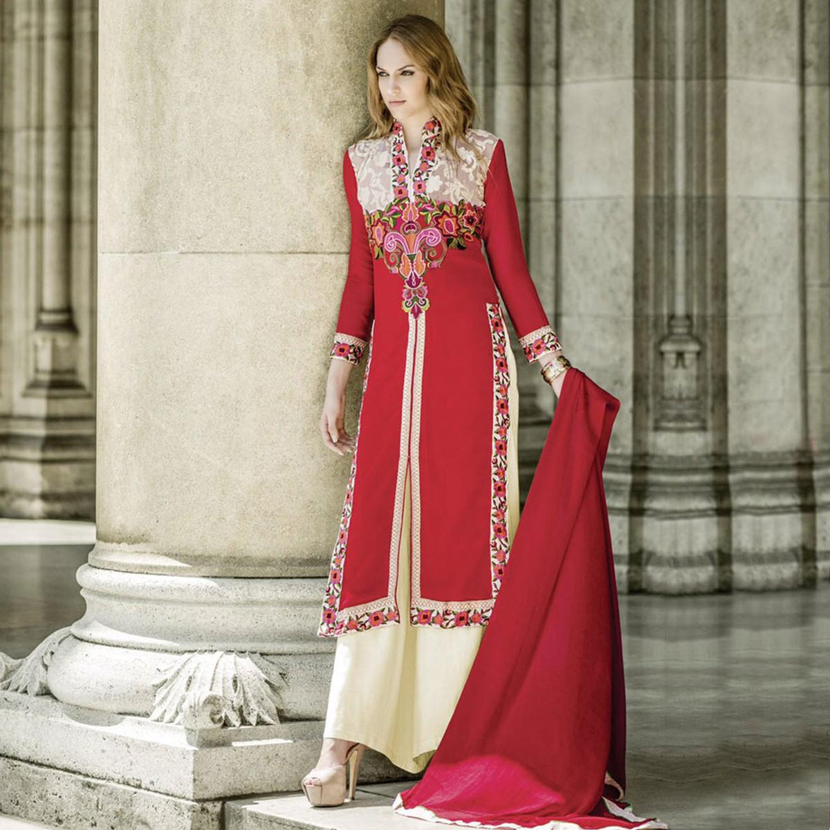 Red - Off White Front Slit Palazzo Suit