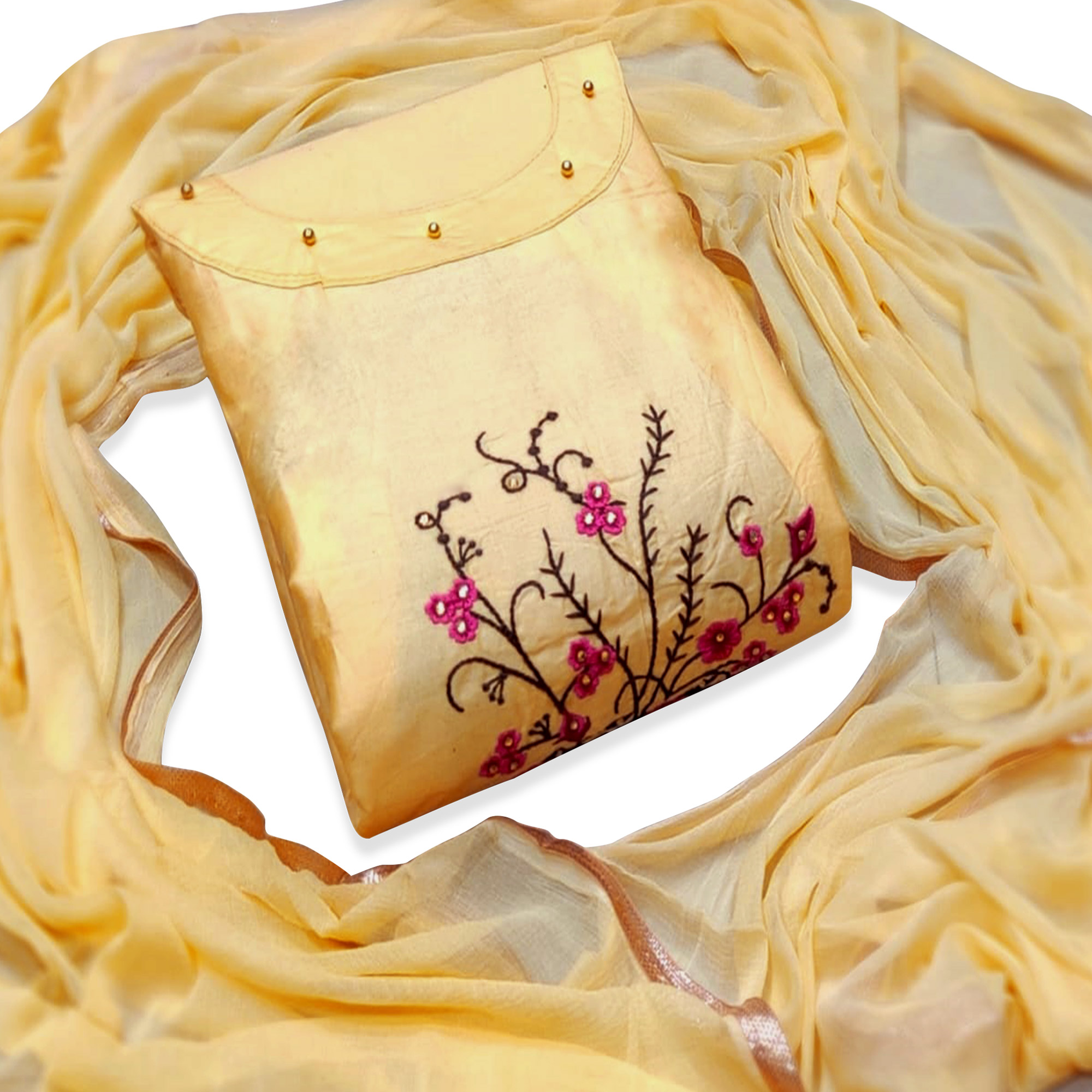 Magnetic Yellow Colored Partywear Floral Embroidered Cotton Dress Material