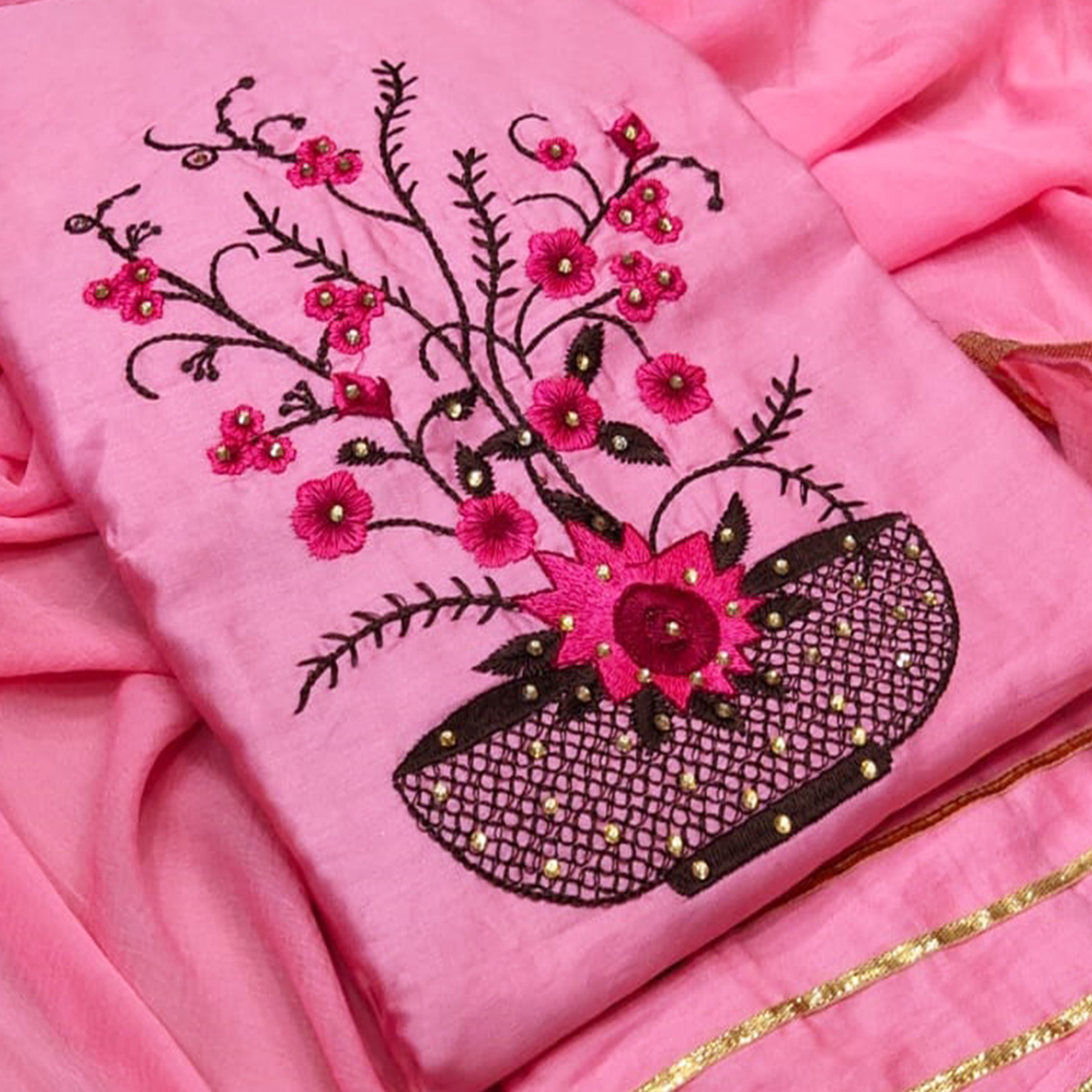 Flattering Pink Colored Partywear Floral Embroidered Cotton Dress Material