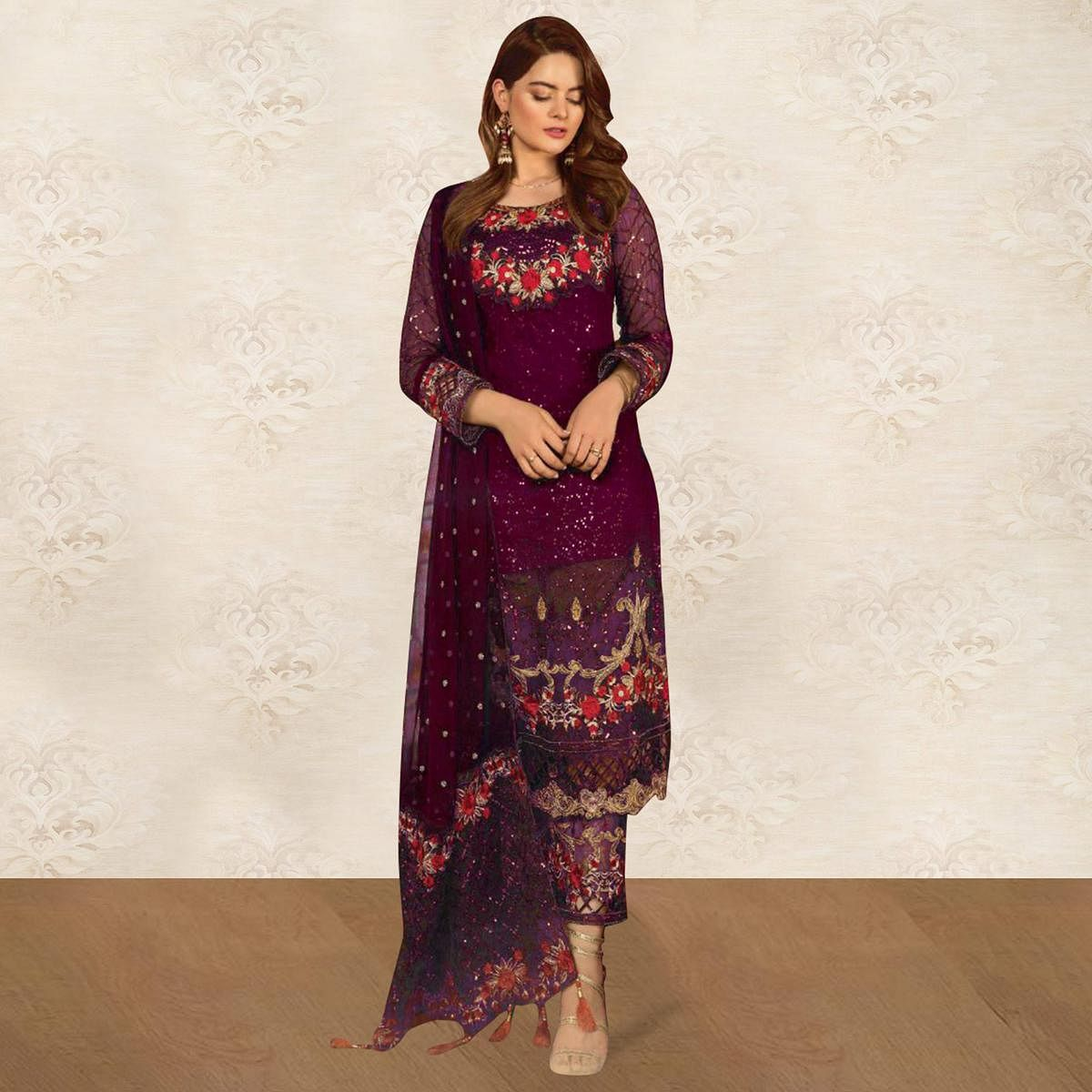 Exclusive Wine Colored Partywear Embroidered Georgette Pant Style Kashmiri Suit
