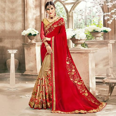 Impressive Beige-Red Colored Partywear Floral Embroidered Half-Half Georgette Saree
