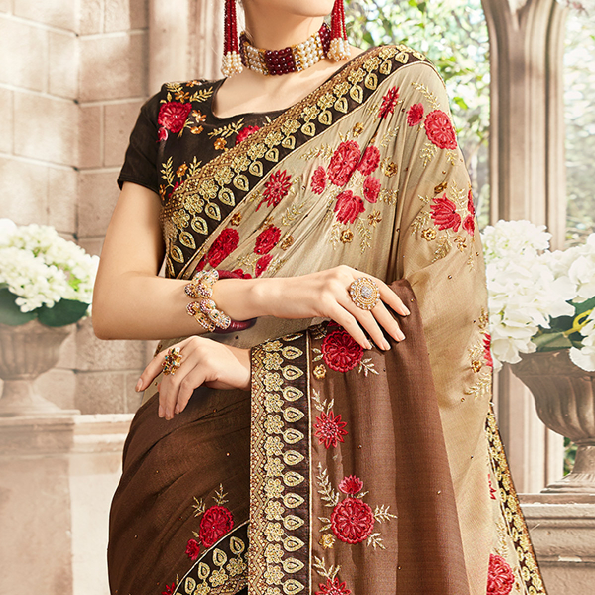 Breathtaking Brown Colored Partywear Floral Embroidered Georgette Saree