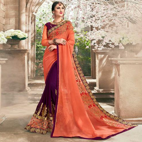 Ethnic Purple-Peach Colored Partywear Floral Embroidered Half-Half Georgette Saree
