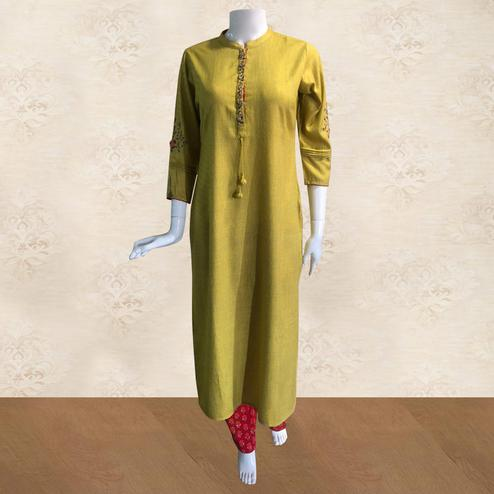 Arresting Yellow Colored Partywear Handwork Cotton Kurti-Palazzo Set