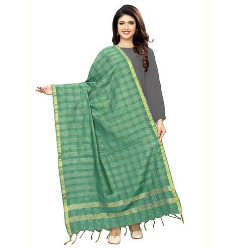 Glorious Green Colored Festive Wear Cotton Silk Dupatta