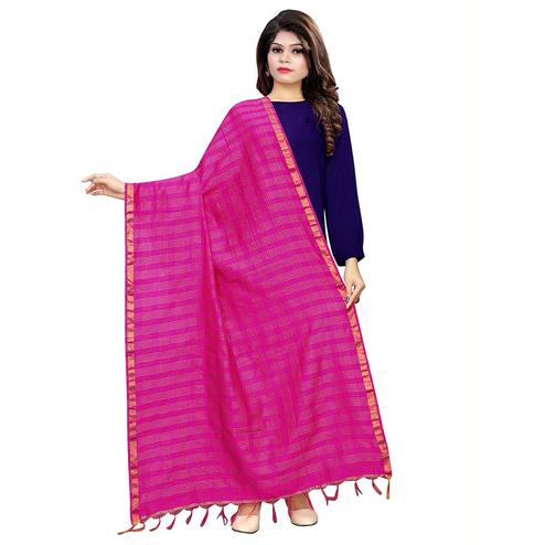 Blooming Pink Colored Festive Wear Cotton Silk Dupatta