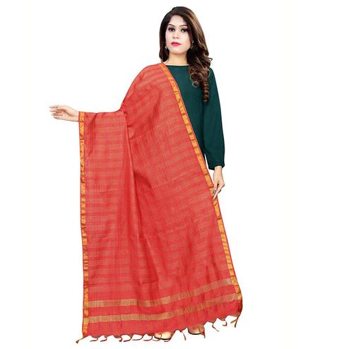 Charming Red Colored Festive Wear Cotton Silk Dupatta