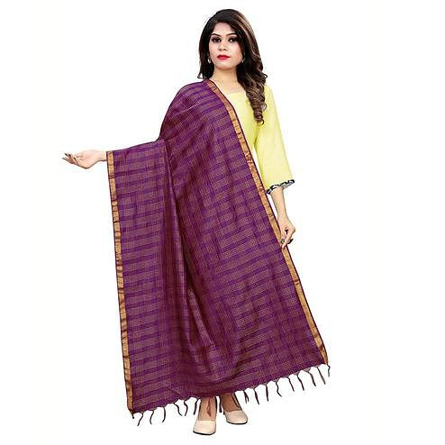 Jazzy Purple Colored Festive Wear Cotton Silk Dupatta