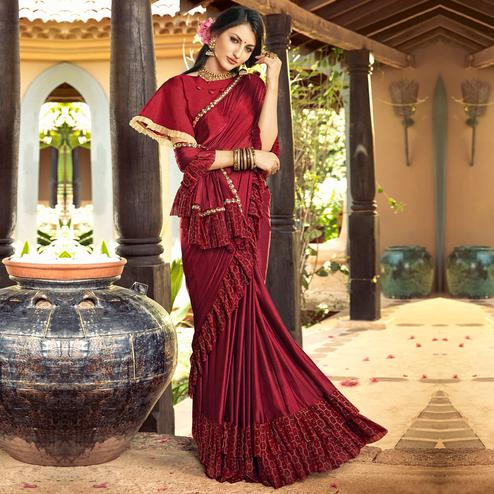 Desirable Maroon Colored Partywear Ruffled Lycra Saree