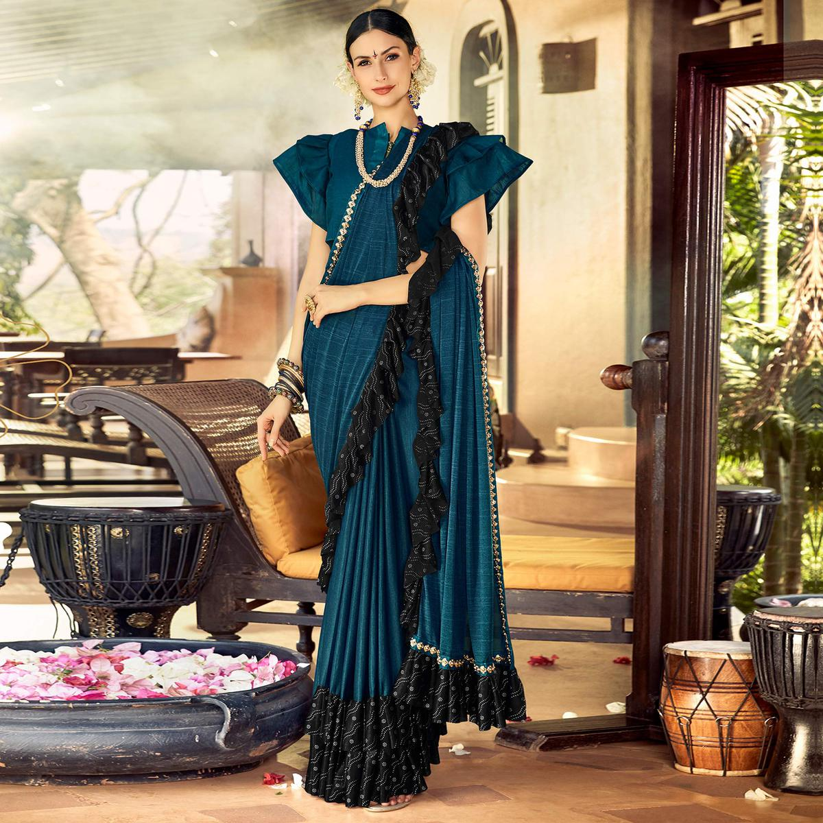 Elegant Blue Colored Partywear Ruffled Lycra Saree