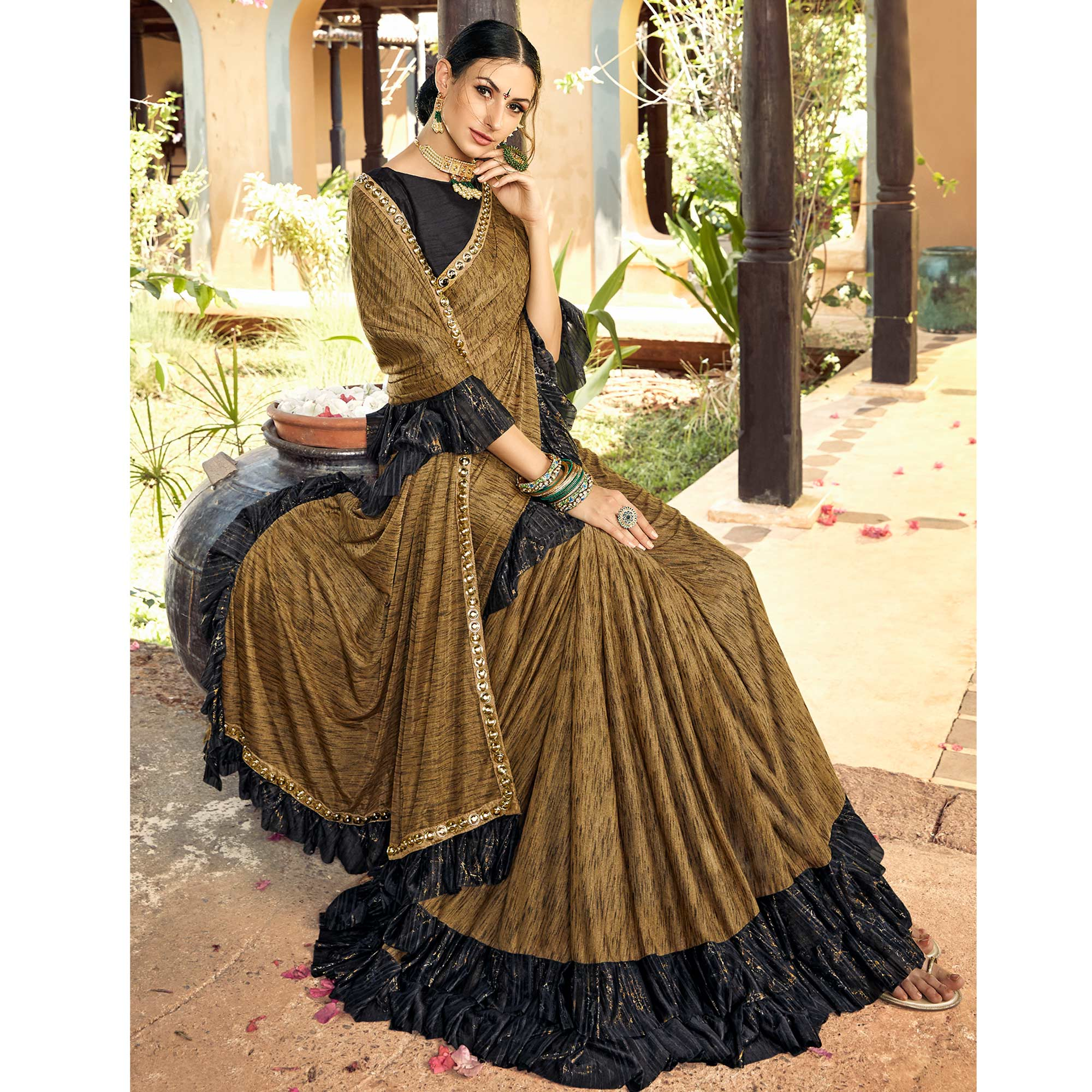 Radiant Olive Green Colored Partywear Ruffled Lycra Saree