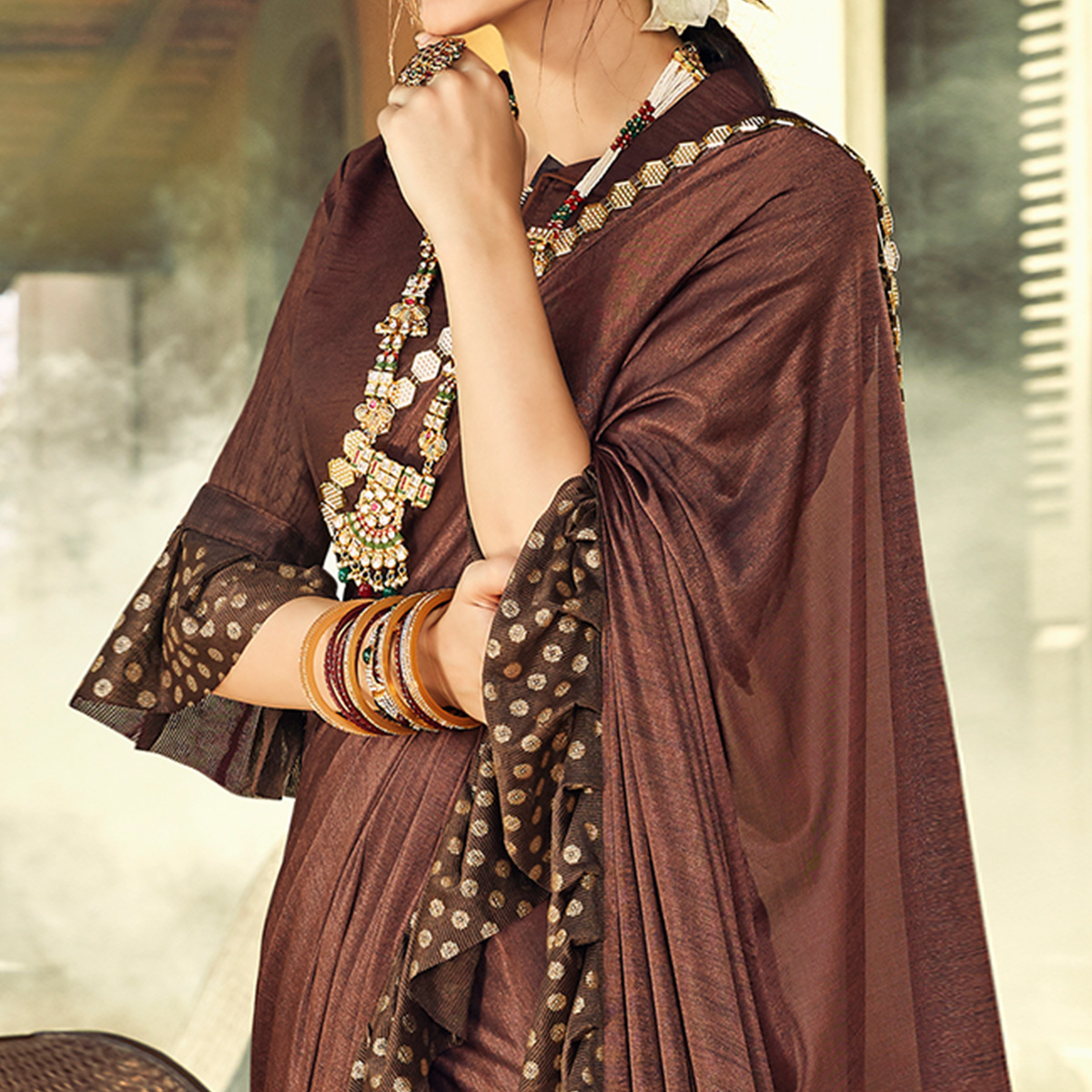 Pleasant Brown Colored Partywear Ruffled Lycra Saree