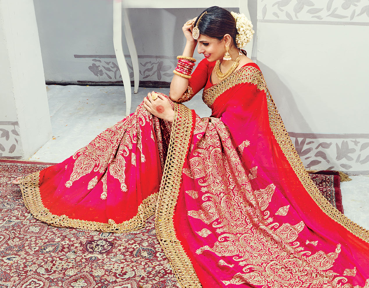 Red - Pink Pure Georgette Wedding Saree