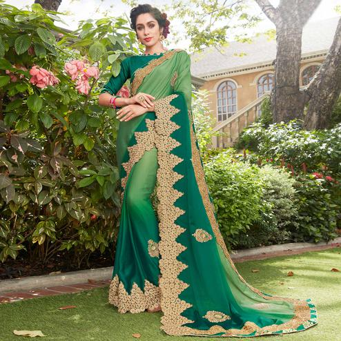 Trendy Green Colored Partywear Embroidered Georgette Saree