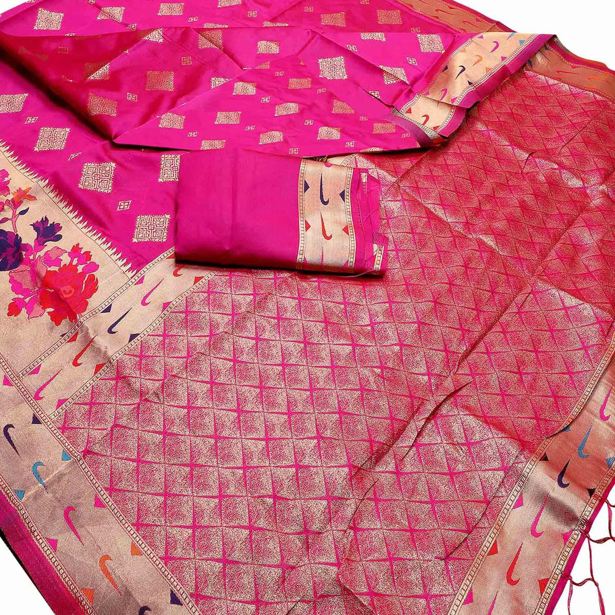 Intricate Pink Colored Festive Wear Woven Purple Banarasi Silk Saree With Tassels