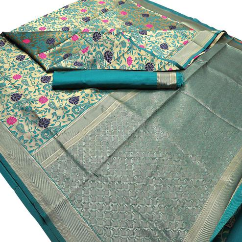 Classy Rama Blue Colored Festive Wear Woven Banarasi Silk Saree