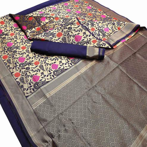 Adorable Navy Blue Colored Festive Wear Woven Banarasi Silk Saree
